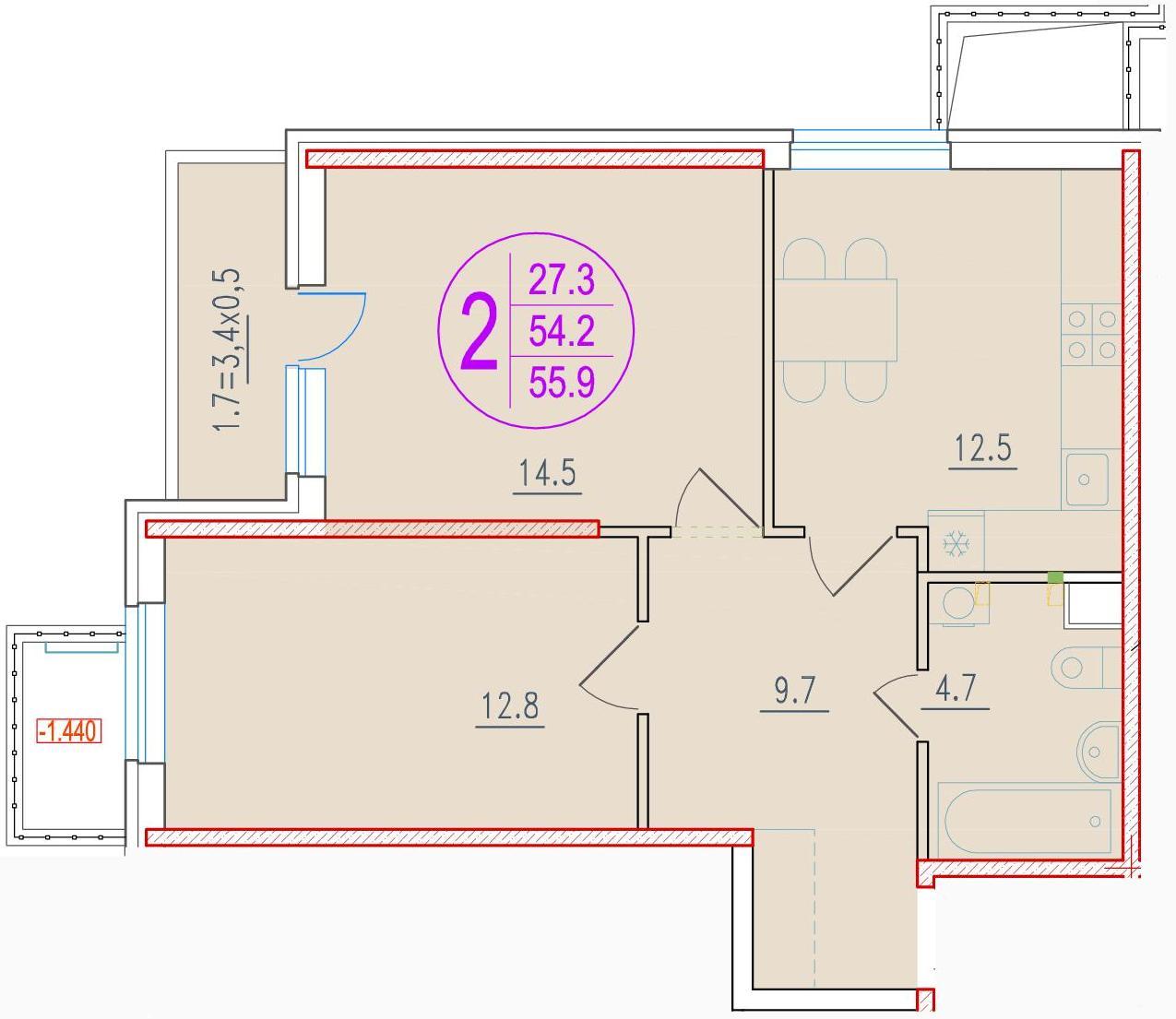 2-комнатная 55.9<span>м<sup>2</sup></span>