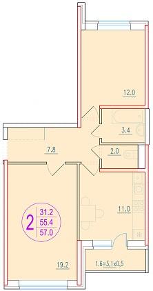 2-комнатная 57<span>м<sup>2</sup></span>