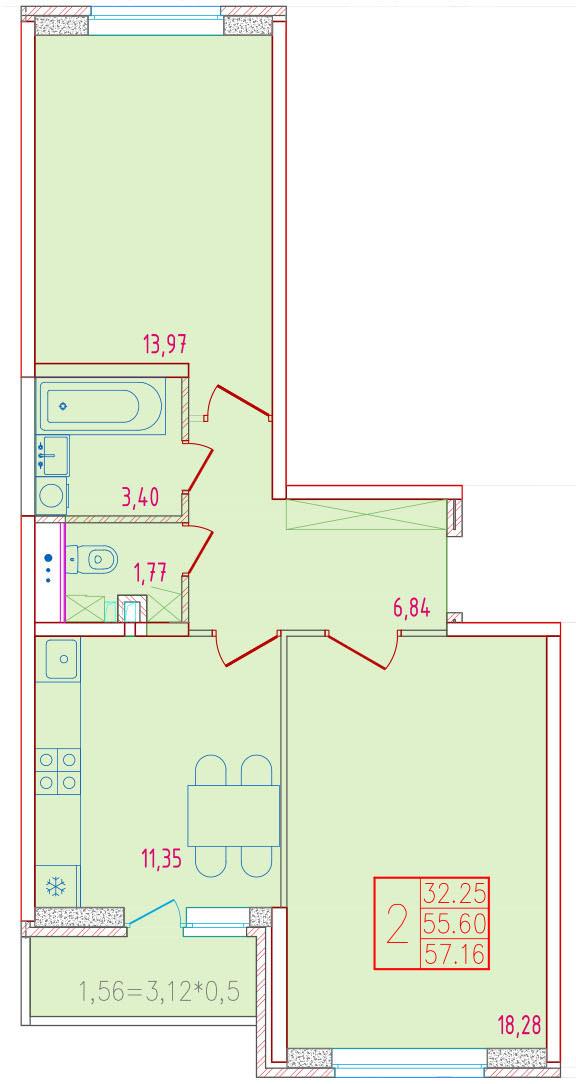 2-комнатная 57.16<span>м<sup>2</sup></span>
