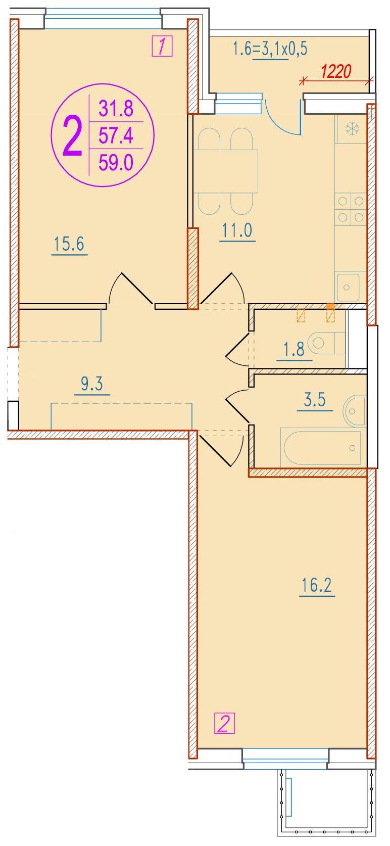 2-комнатная 59<span>м<sup>2</sup></span>