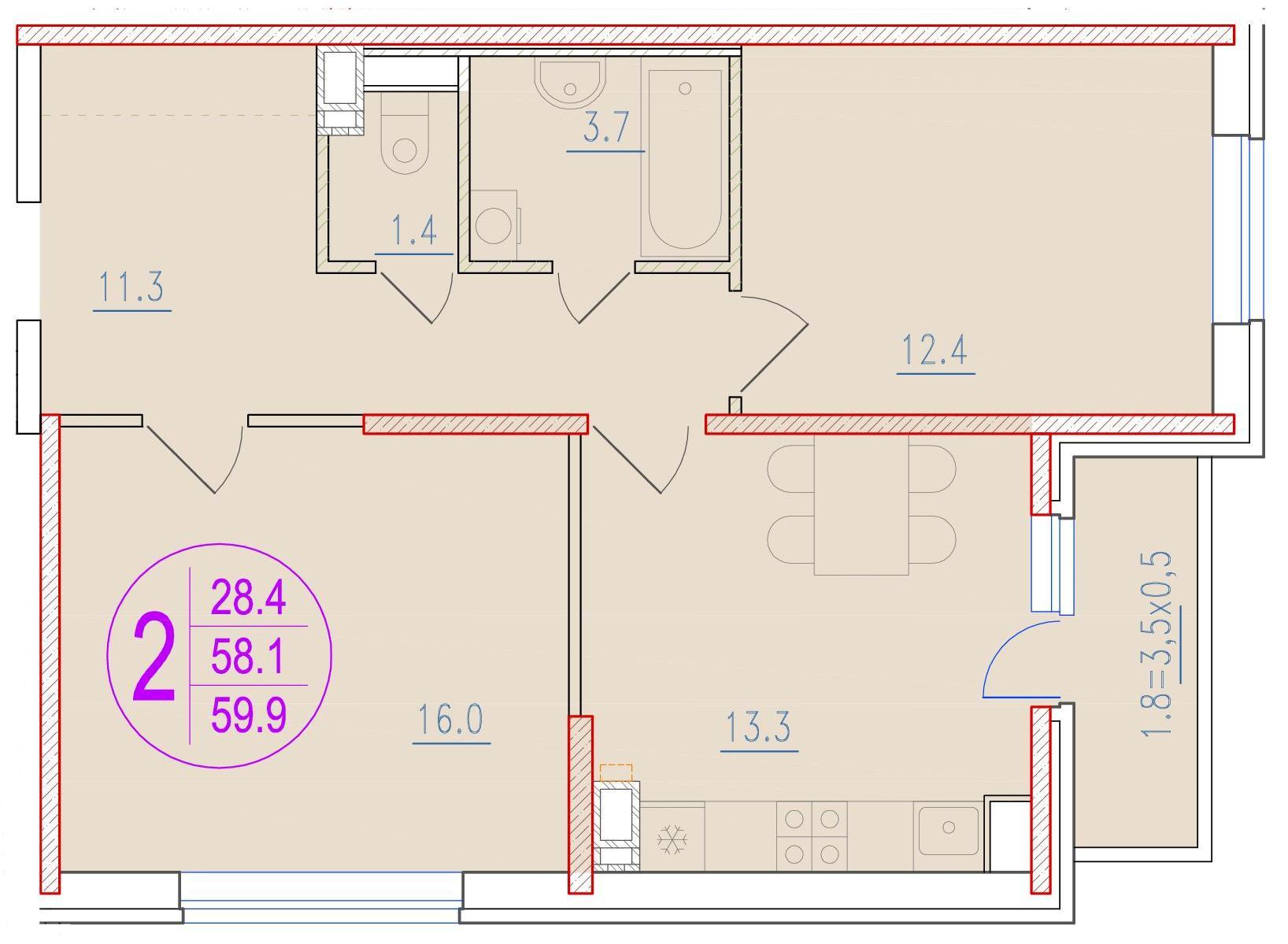 2-комнатная 59.9<span>м<sup>2</sup></span>