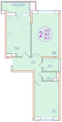 2-комнатная 63.5<span>м<sup>2</sup></span>