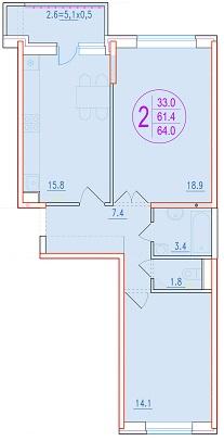 2-комнатная 64<span>м<sup>2</sup></span>
