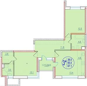 3-комнатная смарт 67.1<span>м<sup>2</sup></span>