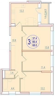 3-комнатная 68<span>м<sup>2</sup></span>