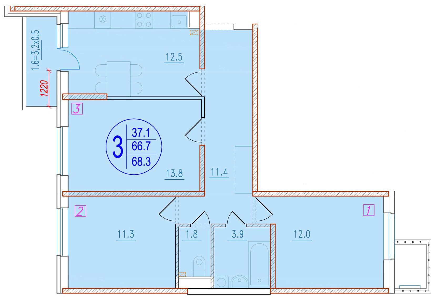 3-комнатная 68.3<span>м<sup>2</sup></span>