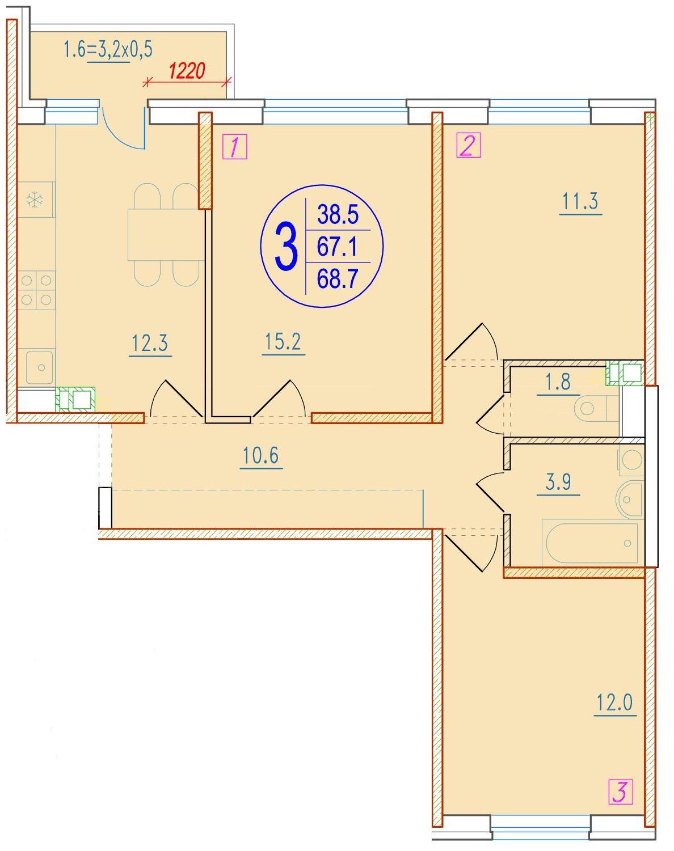 3-комнатная 68.7<span>м<sup>2</sup></span>