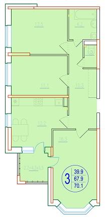 3-комнатная 70.1<span>м<sup>2</sup></span>