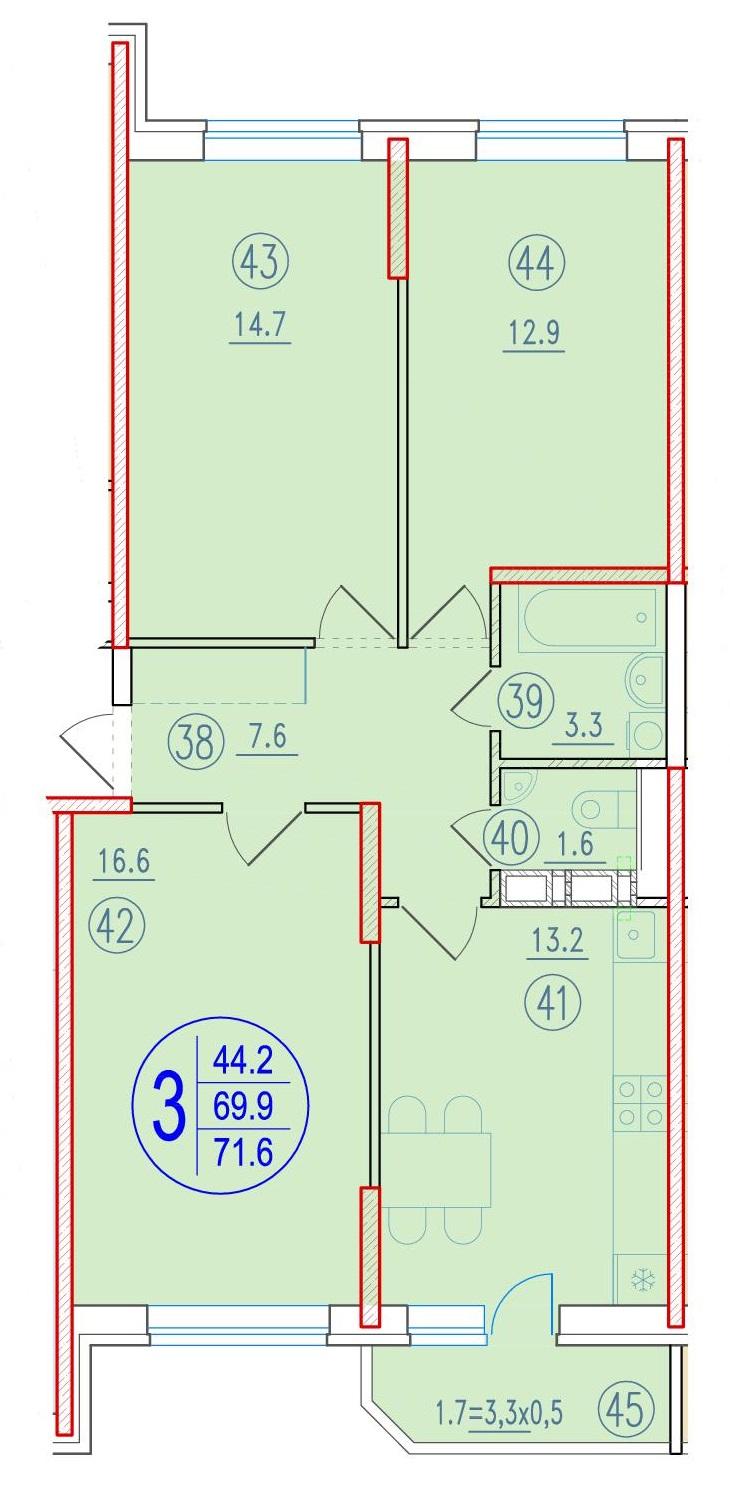 3-комнатная 71.6<span>м<sup>2</sup></span>