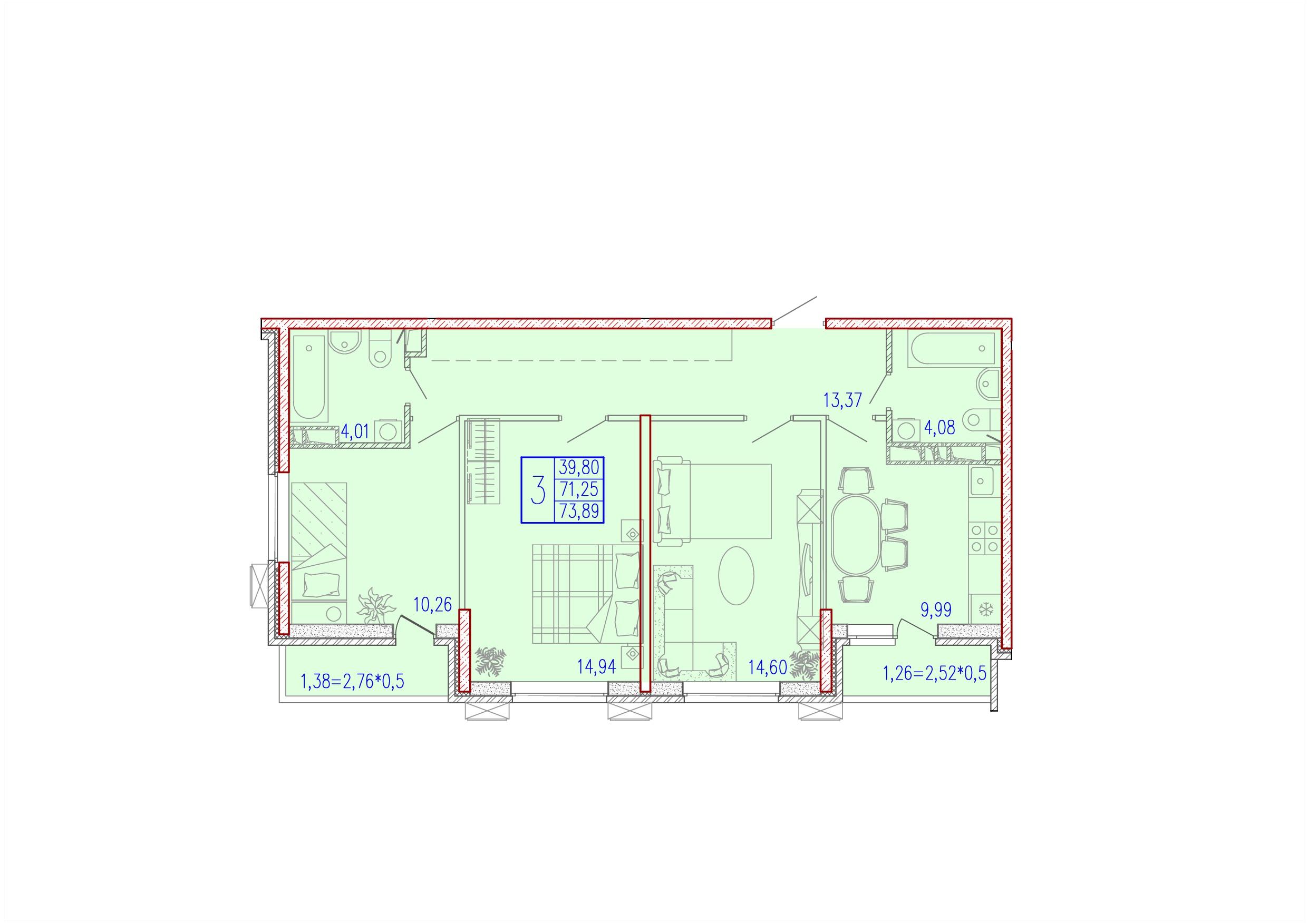 3-комнатная 73.89<span>м<sup>2</sup></span>