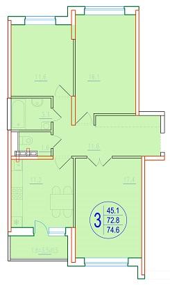 3-комнатная 74.6<span>м<sup>2</sup></span>