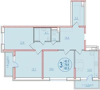 3-комнатная 82.5<span>м<sup>2</sup></span>