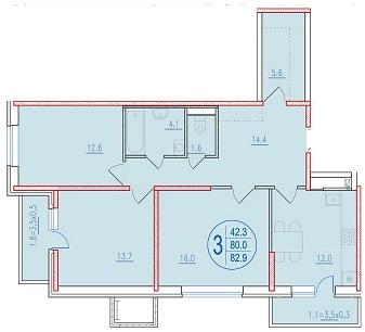 3-комнатная 82.9<span>м<sup>2</sup></span>