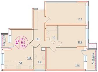 4-комнатная смарт 89.5<span>м<sup>2</sup></span>
