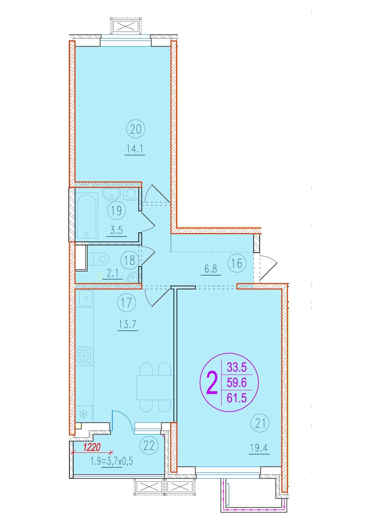 2-комнатная 61.5<span>м<sup>2</sup></span>