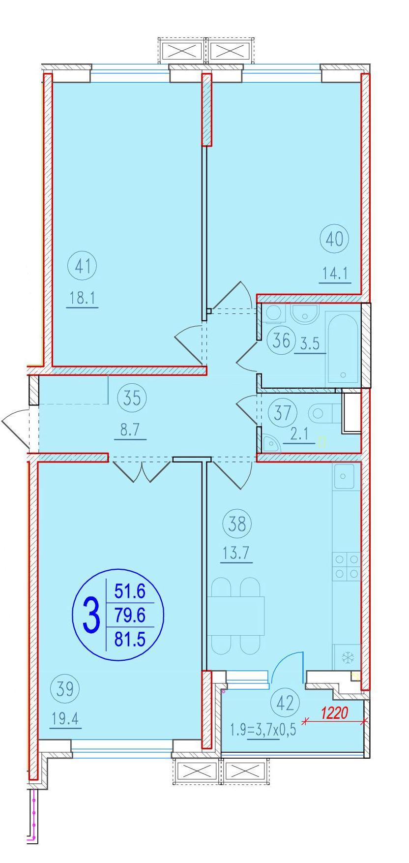 3-комнатная 81.5<span>м<sup>2</sup></span>