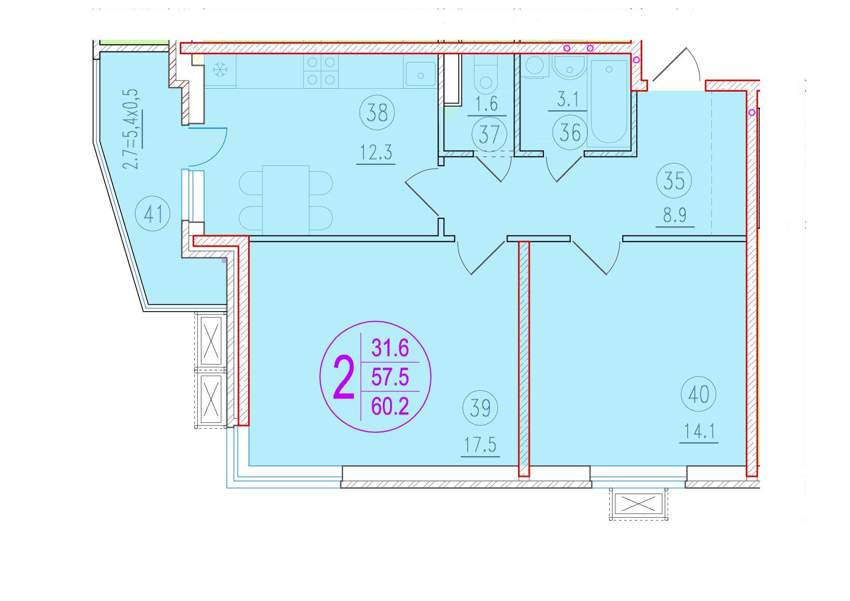2-комнатная 60.2<span>м<sup>2</sup></span>