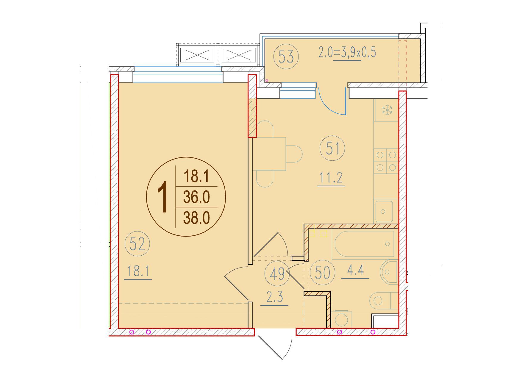 1-комнатная 38<span>м<sup>2</sup></span>