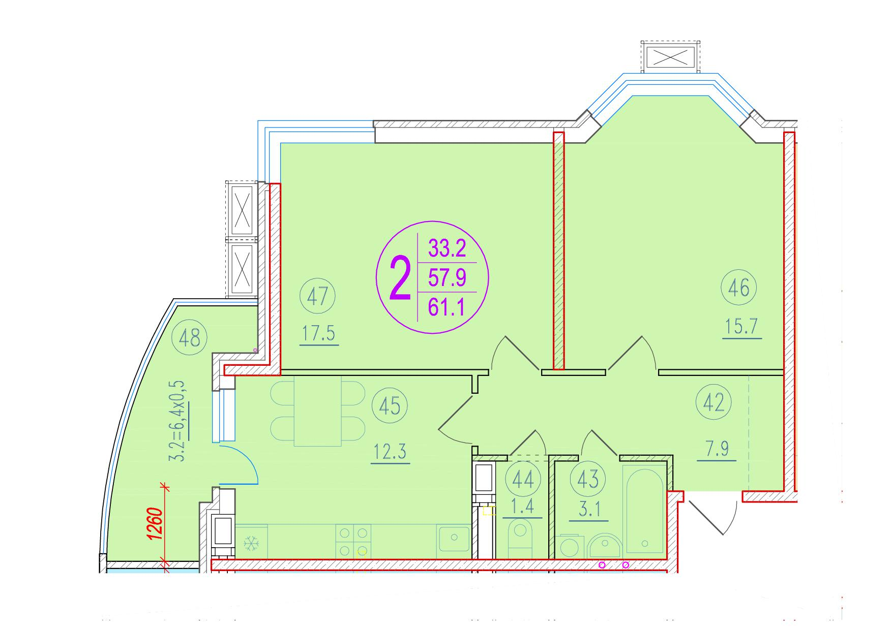 2-комнатная 61.1<span>м<sup>2</sup></span>