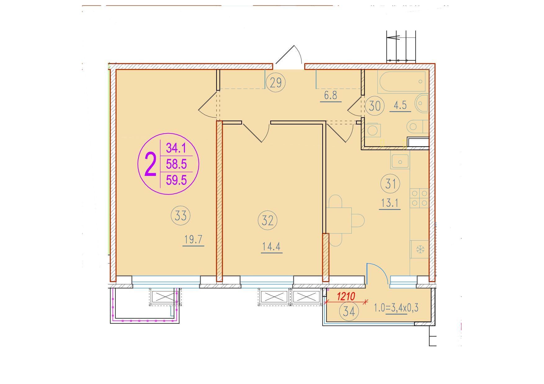 2-комнатная 59.5<span>м<sup>2</sup></span>
