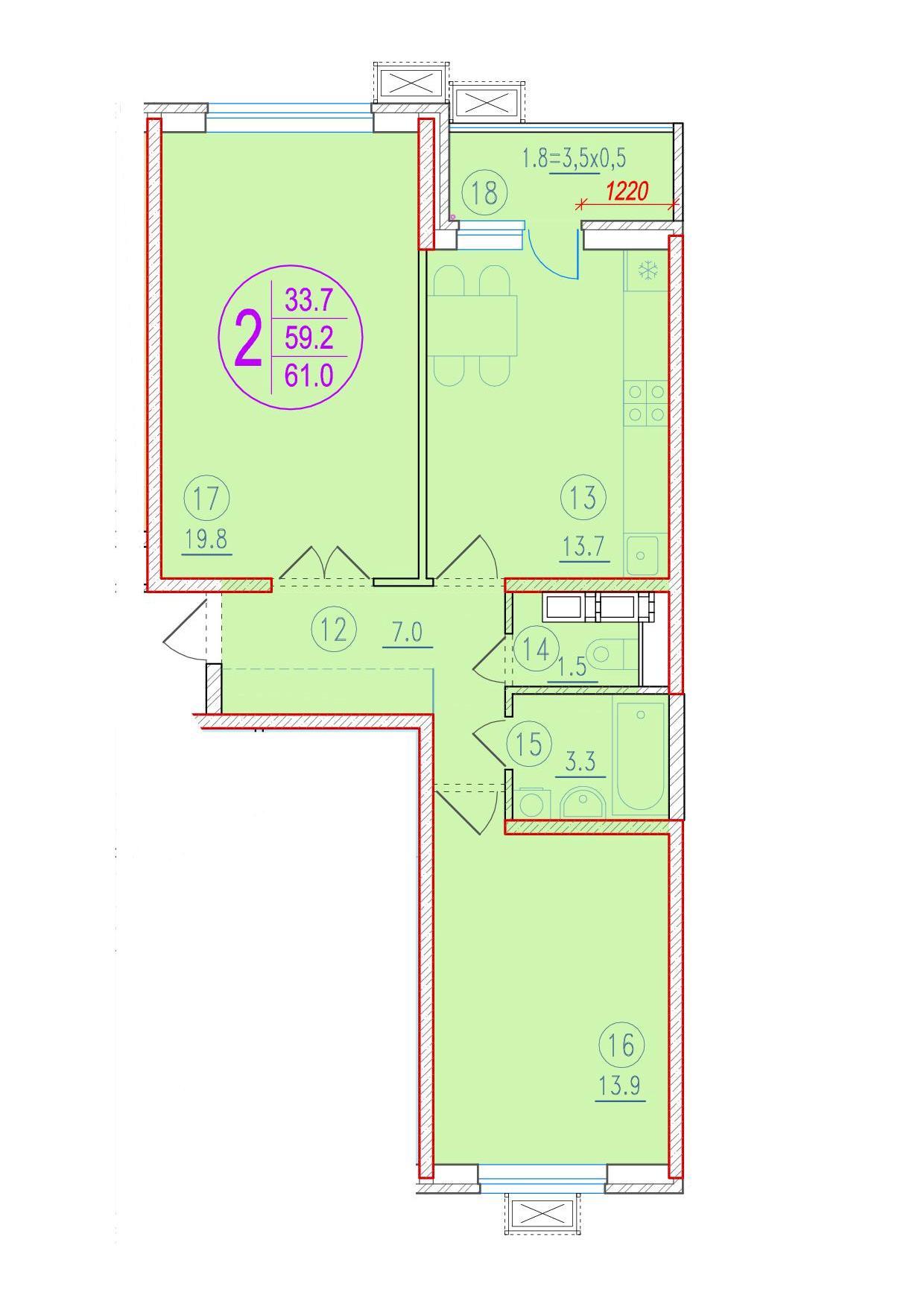 2-комнатная 61<span>м<sup>2</sup></span>
