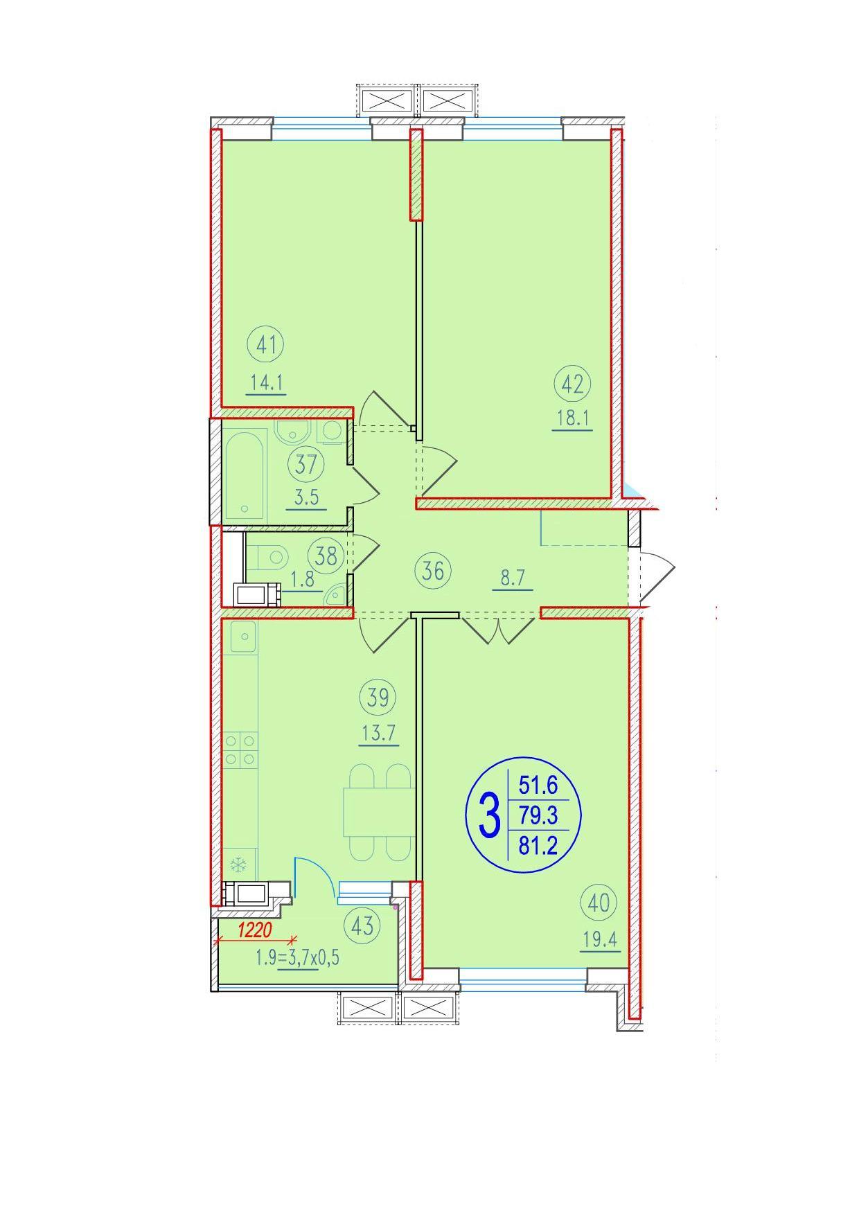 3-комнатная 81.2<span>м<sup>2</sup></span>