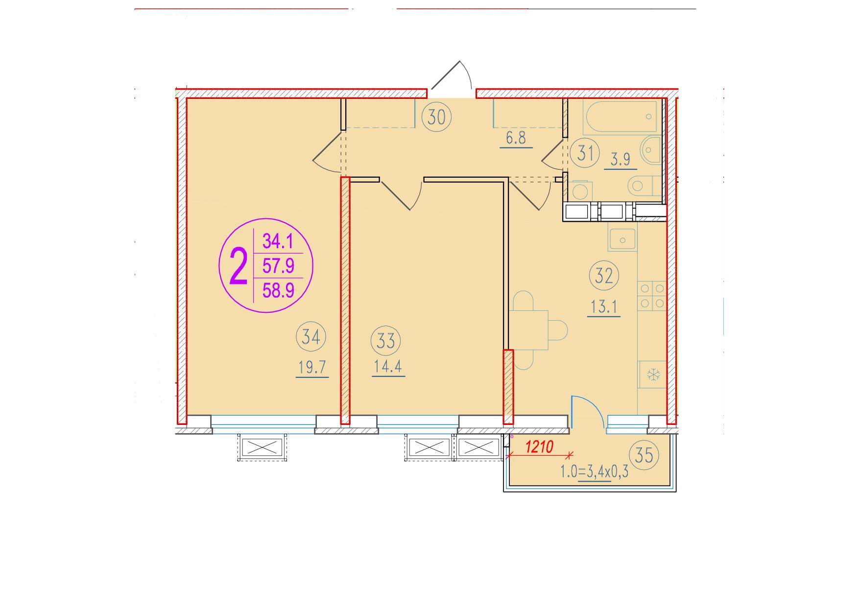 2-комнатная 58.9<span>м<sup>2</sup></span>