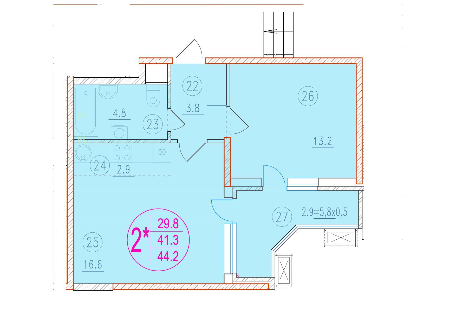 2-комнатная смарт 44.2<span>м<sup>2</sup></span>