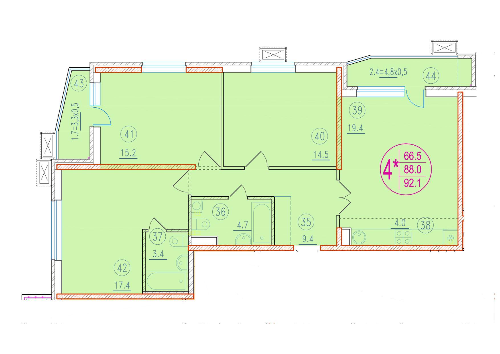 4-комнатная смарт 92.1<span>м<sup>2</sup></span>