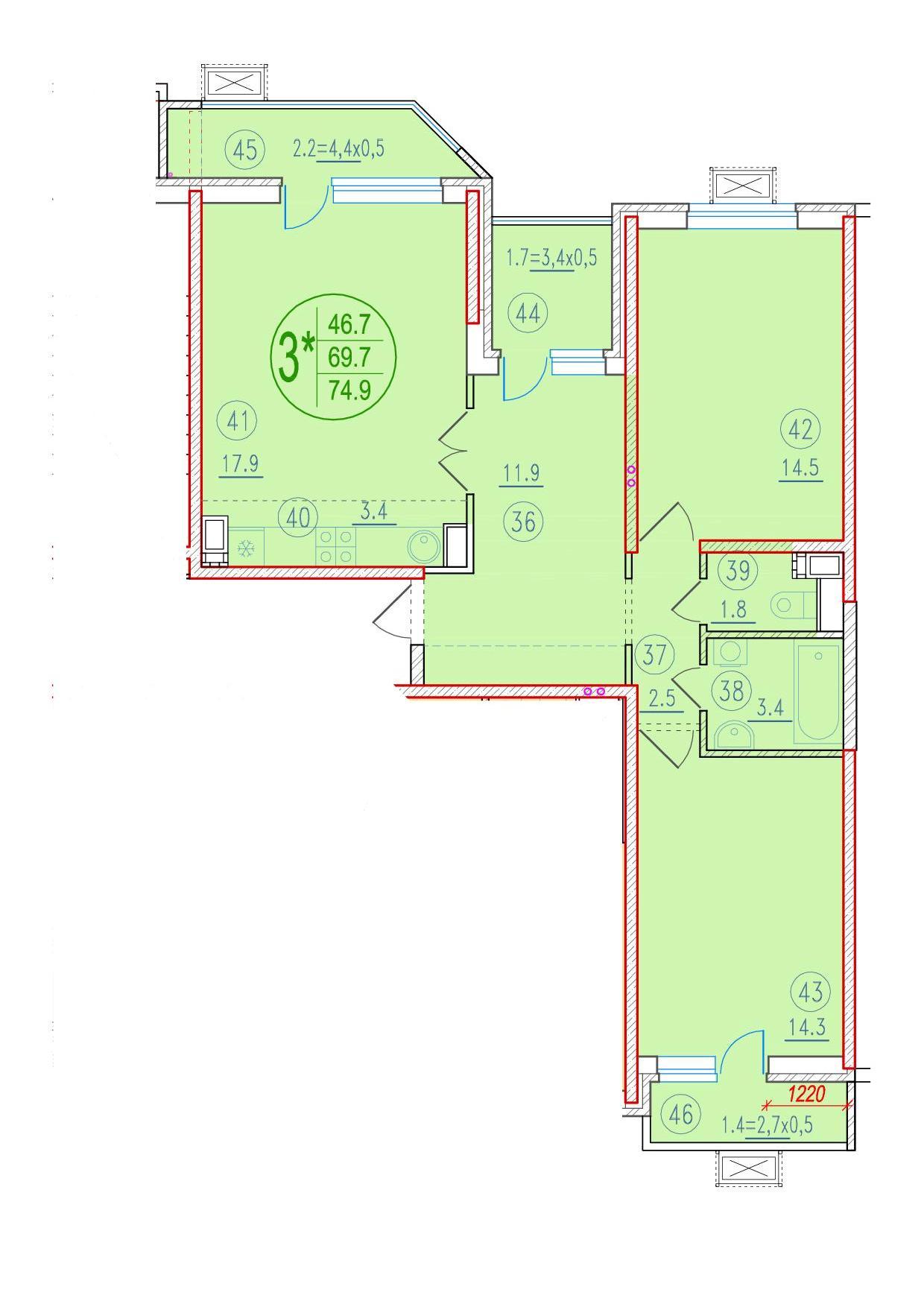 3-комнатная смарт 74.9<span>м<sup>2</sup></span>
