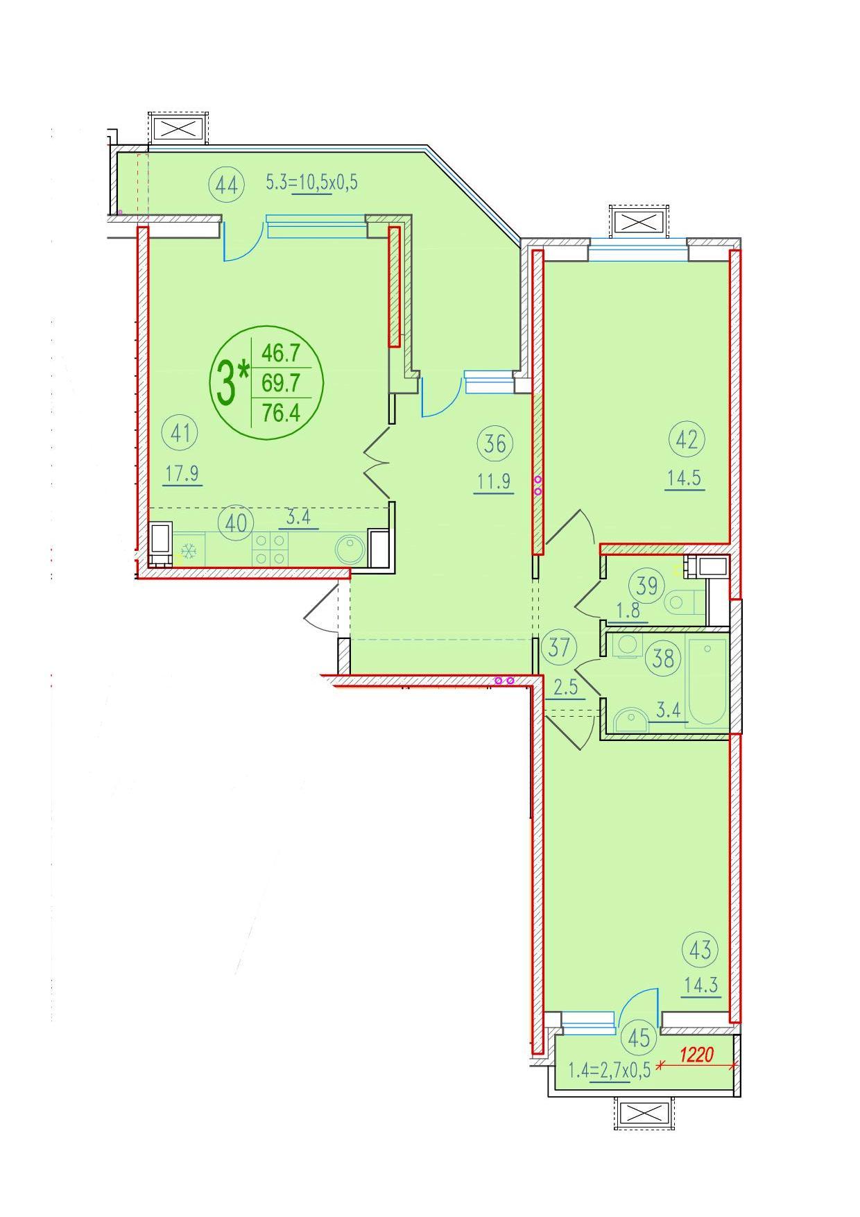 3-комнатная смарт 76.4<span>м<sup>2</sup></span>