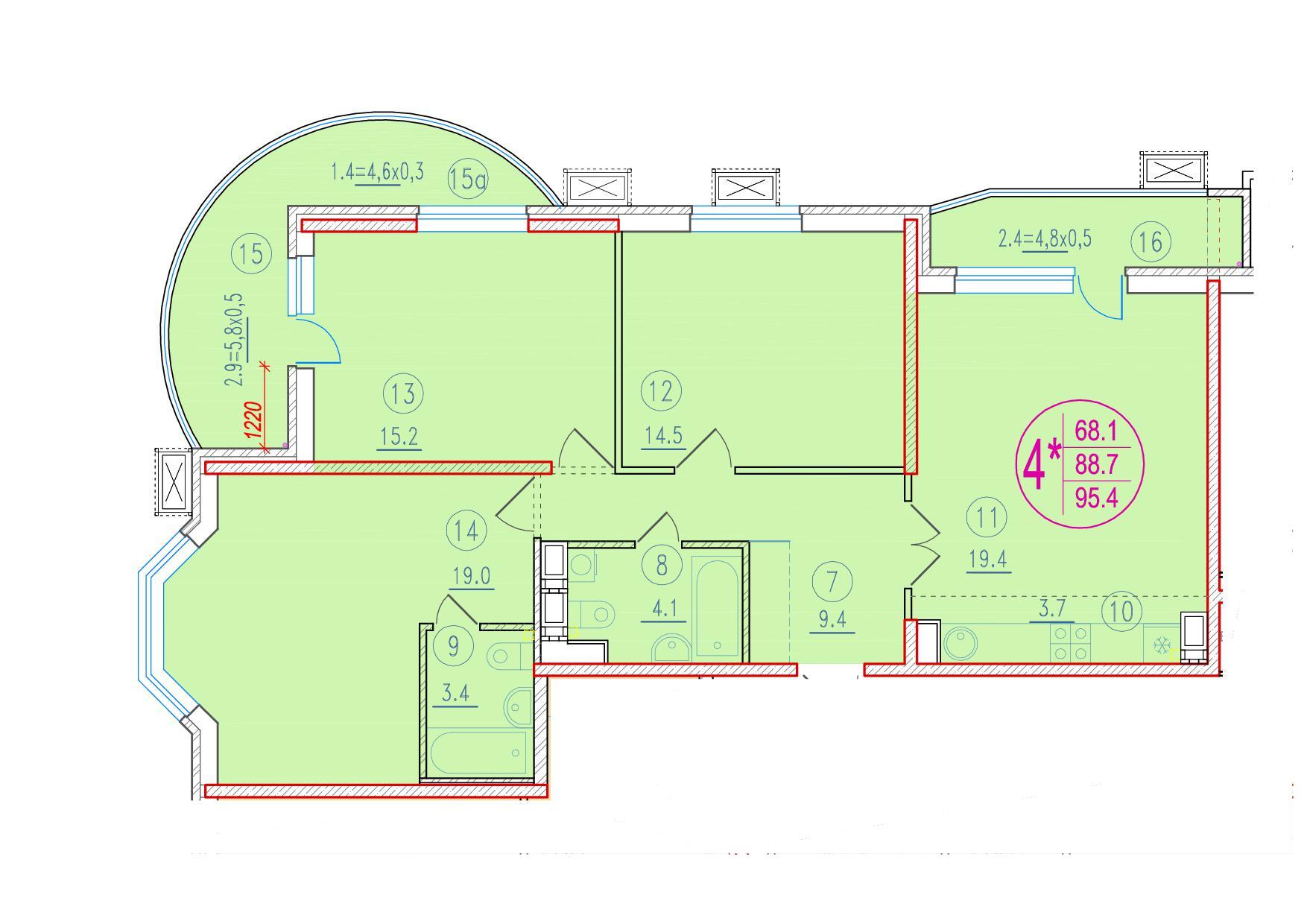 4-комнатная смарт 95.4<span>м<sup>2</sup></span>