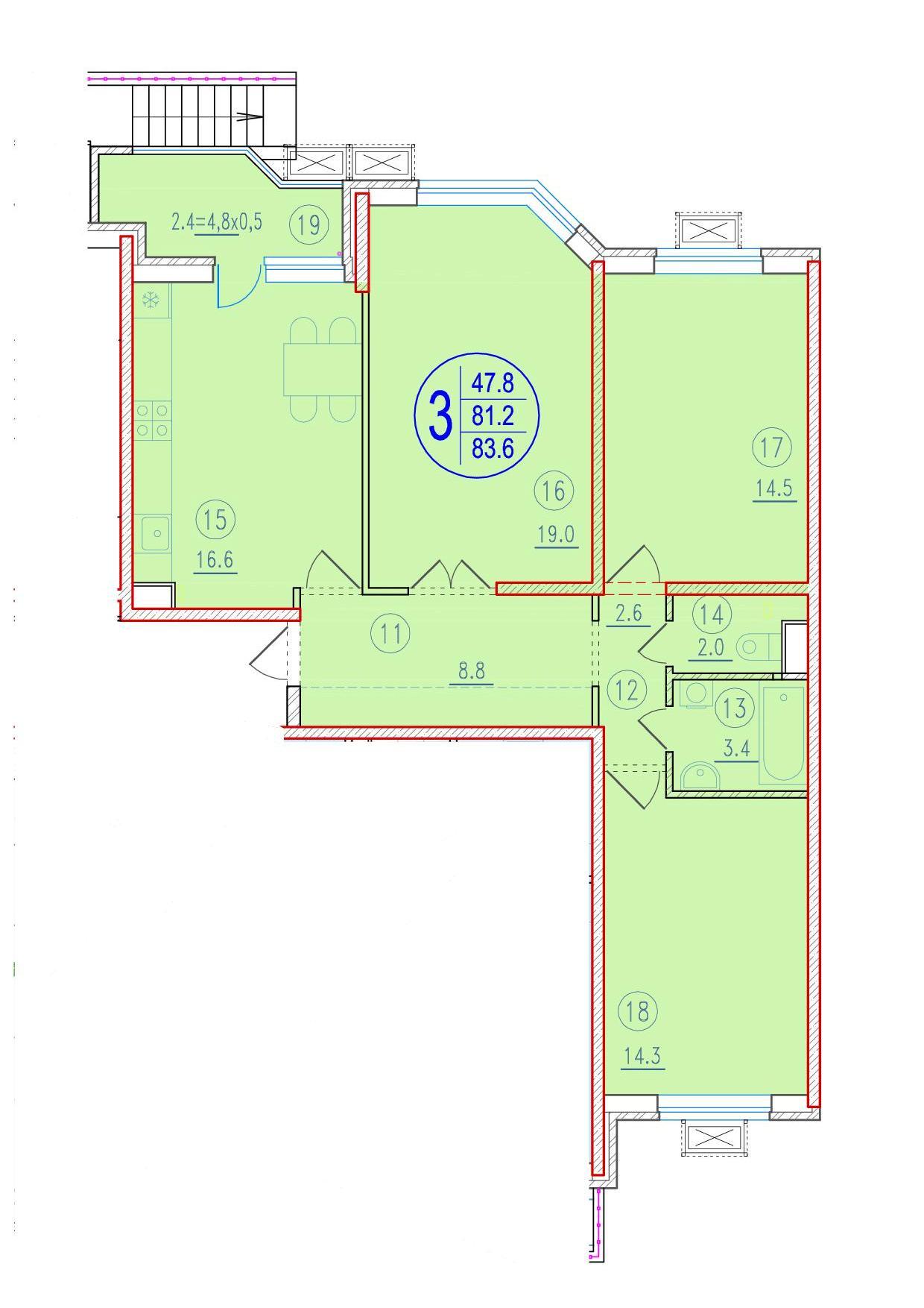 3-комнатная 83.6<span>м<sup>2</sup></span>