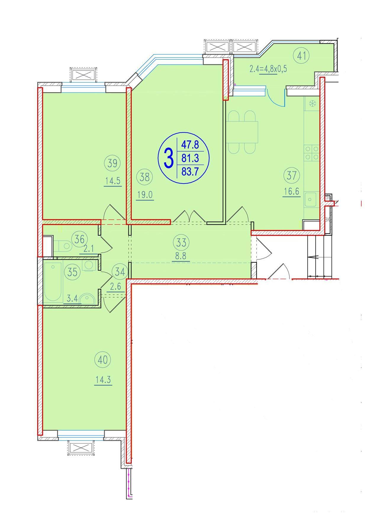3-комнатная 83.7<span>м<sup>2</sup></span>