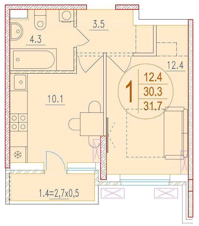 1-комнатная 31.7<span>м<sup>2</sup></span>