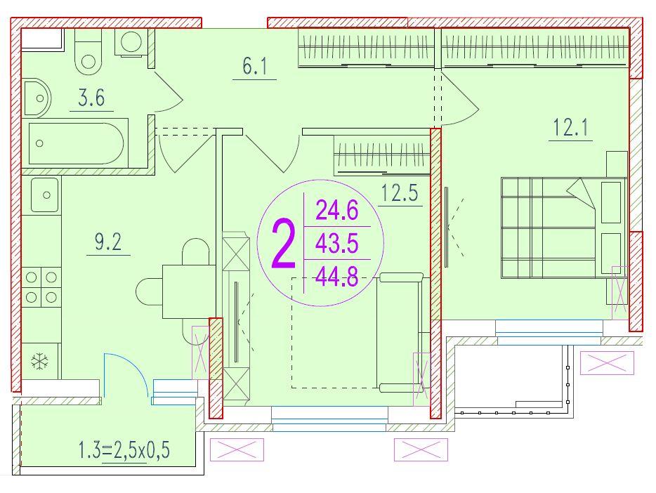 2-комнатная 44.8<span>м<sup>2</sup></span>