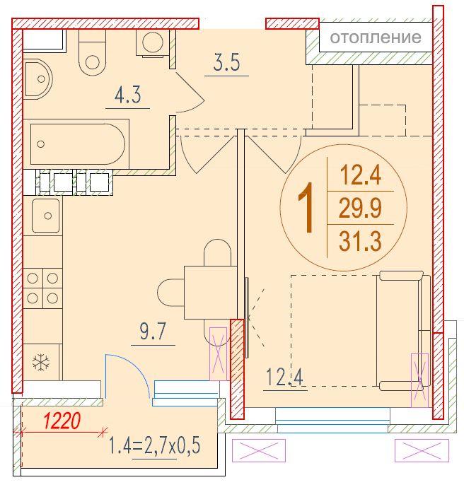 1-комнатная 31.3<span>м<sup>2</sup></span>