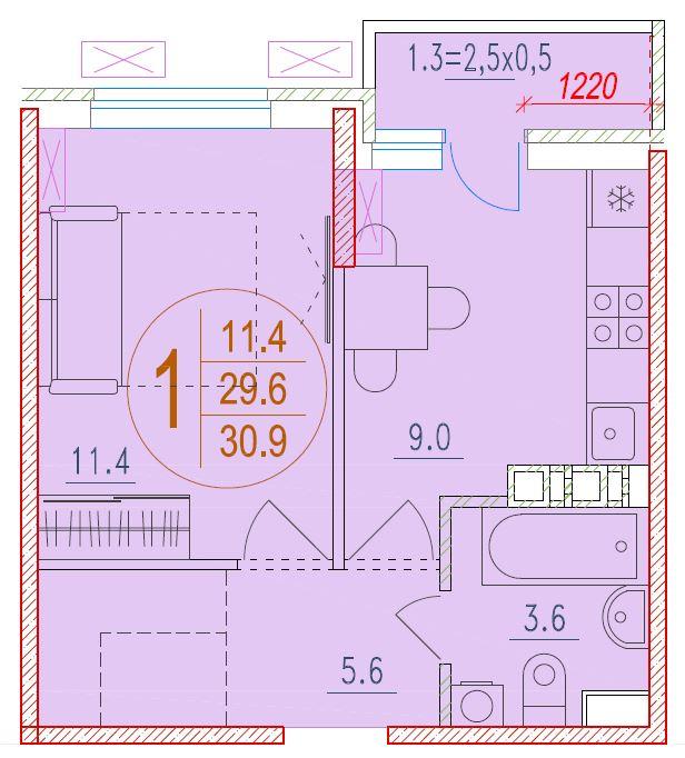1-комнатная 30.9<span>м<sup>2</sup></span>