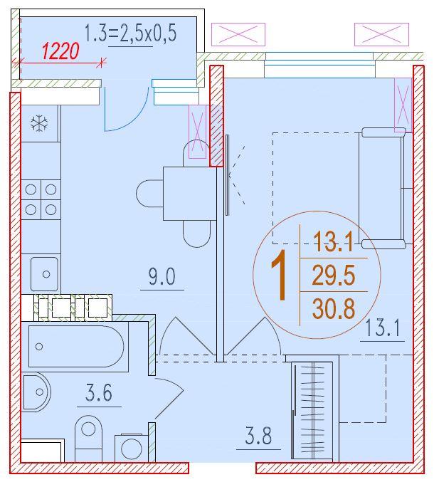 1-комнатная 30.8<span>м<sup>2</sup></span>