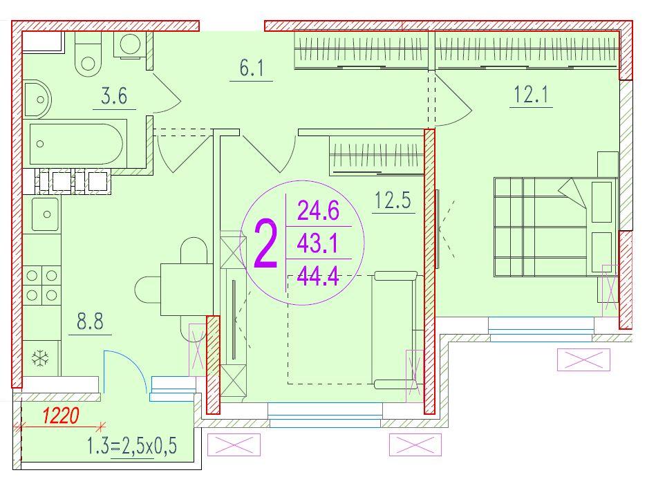 2-комнатная 44.4<span>м<sup>2</sup></span>