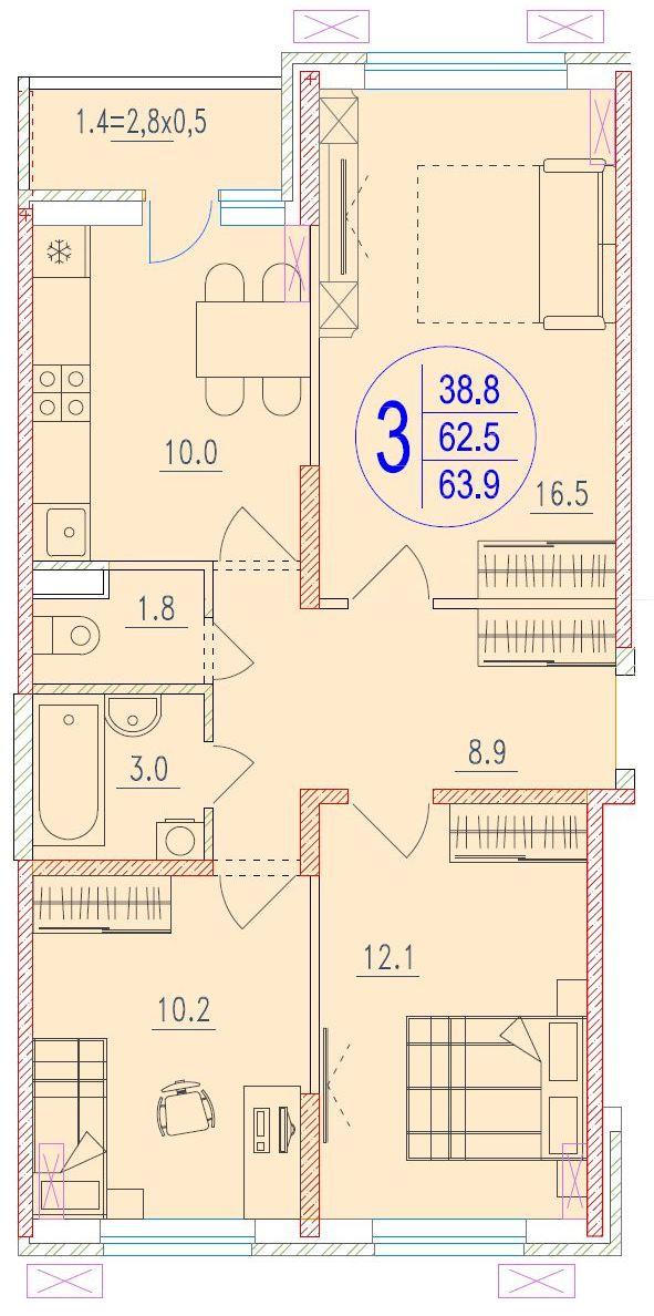 3-комнатная 63.9<span>м<sup>2</sup></span>
