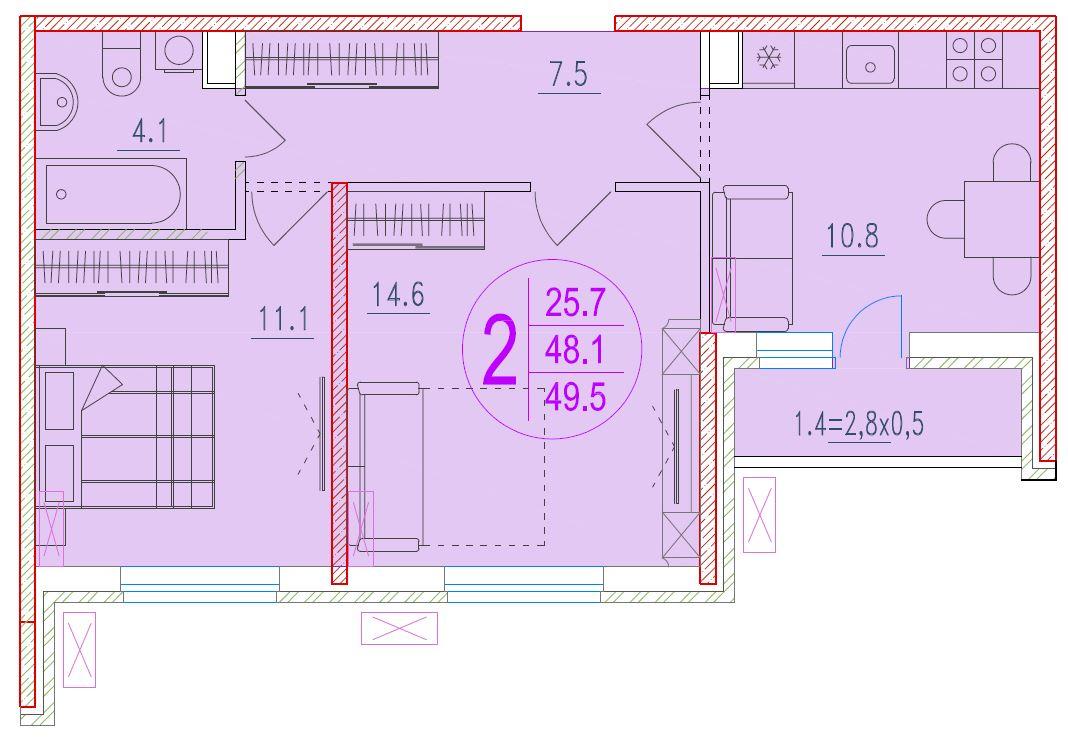 2-комнатная 49.5<span>м<sup>2</sup></span>