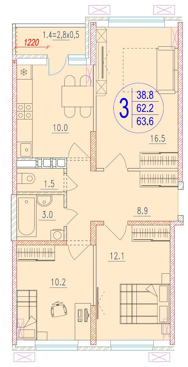 3-комнатная 63.6<span>м<sup>2</sup></span>