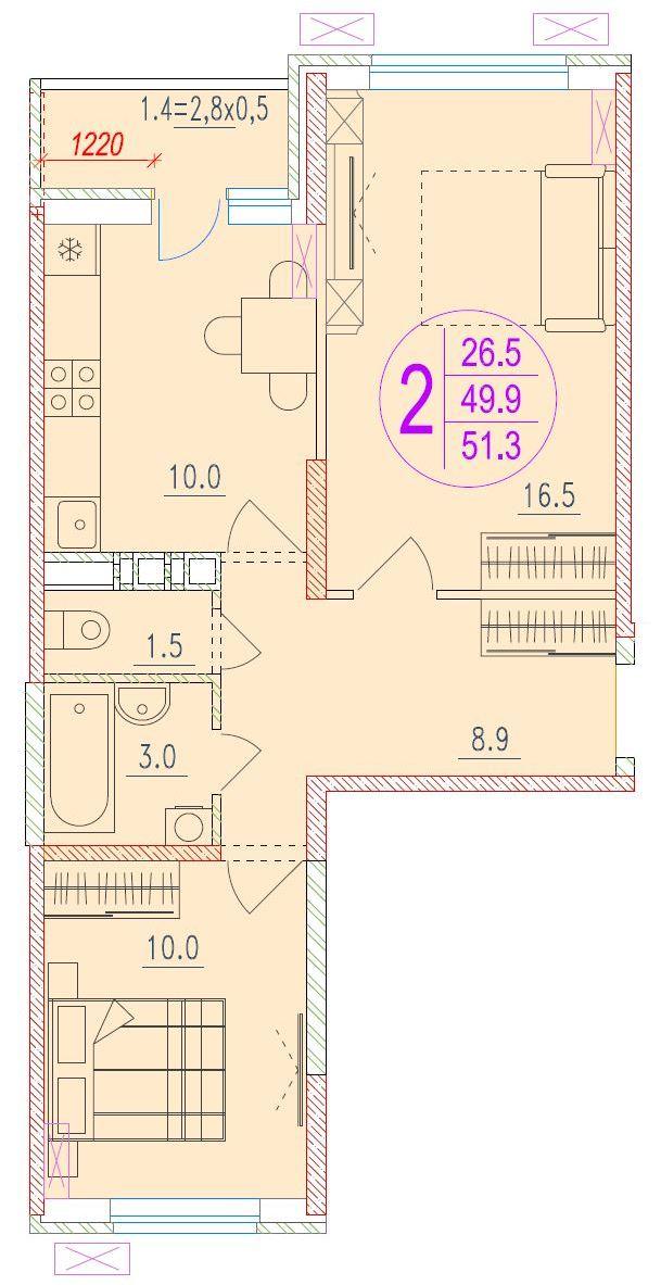 2-комнатная 51.3<span>м<sup>2</sup></span>
