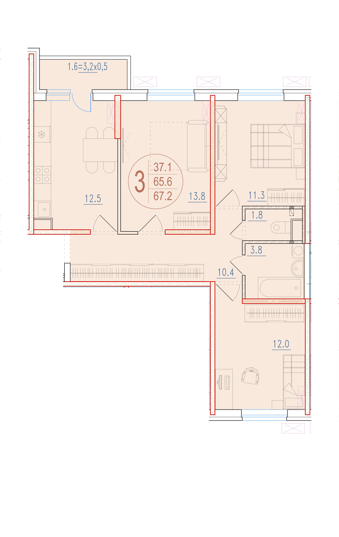 3-комнатная 67.2<span>м<sup>2</sup></span>