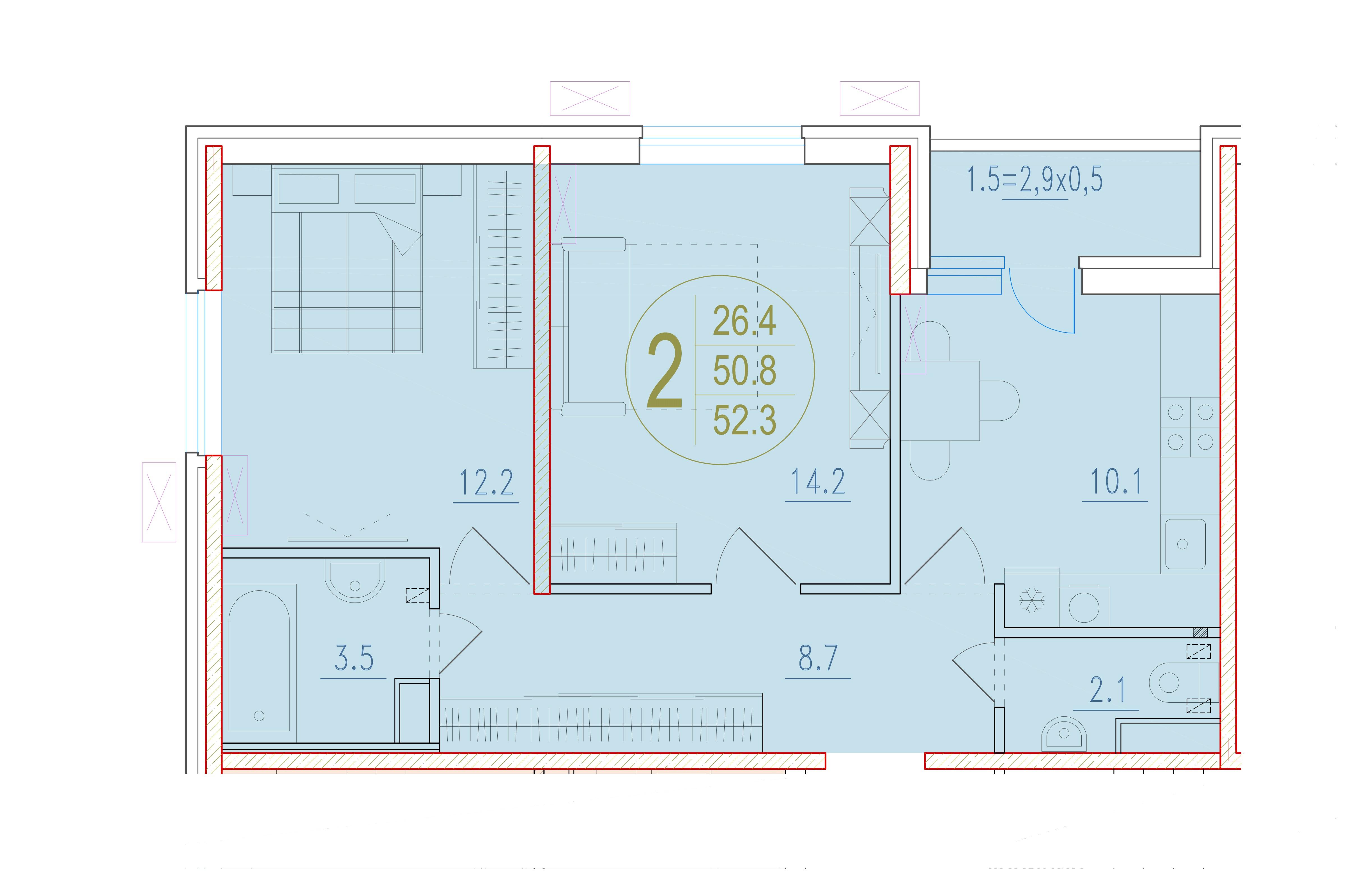 2-комнатная 52.3<span>м<sup>2</sup></span>
