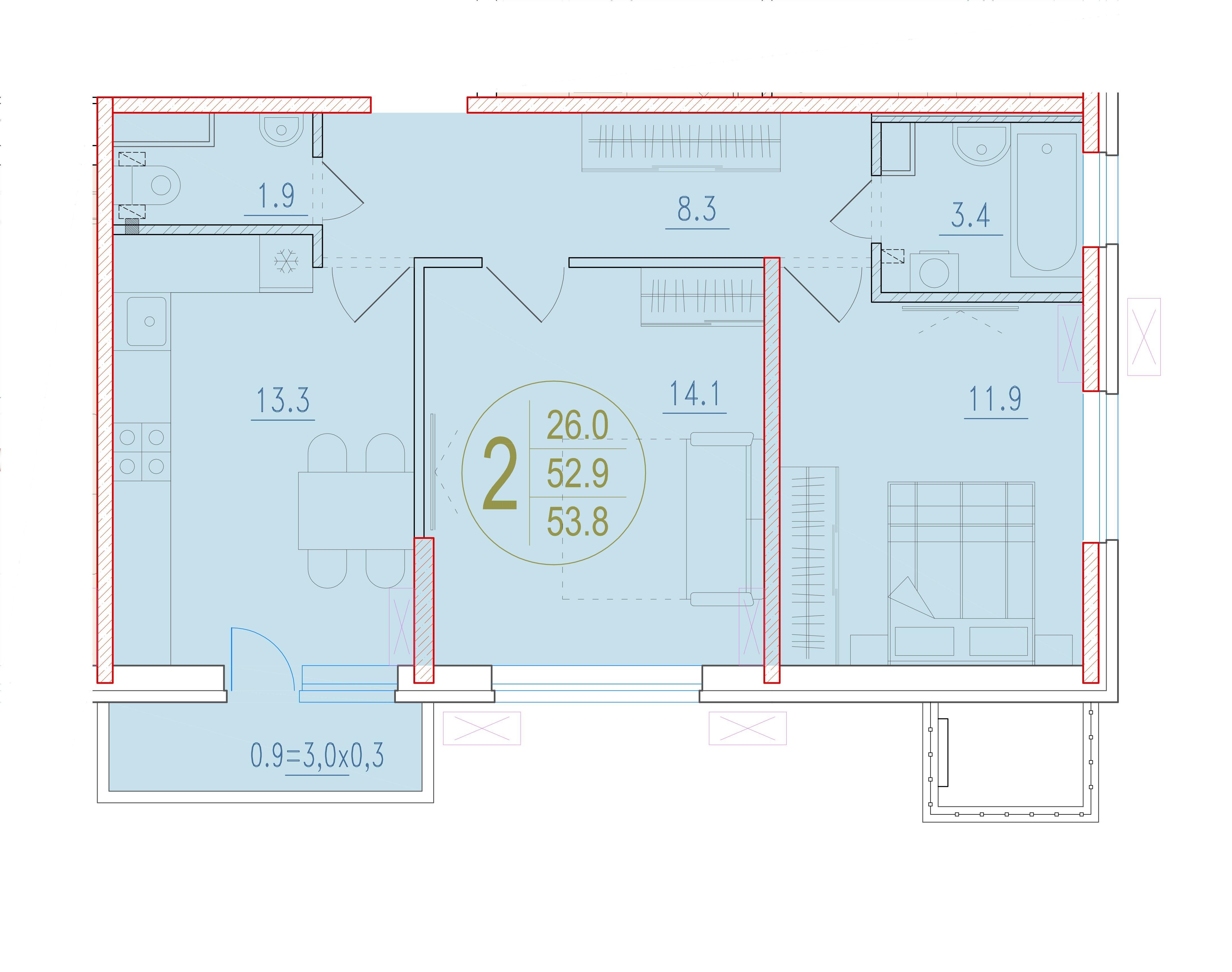 2-комнатная 53.8<span>м<sup>2</sup></span>