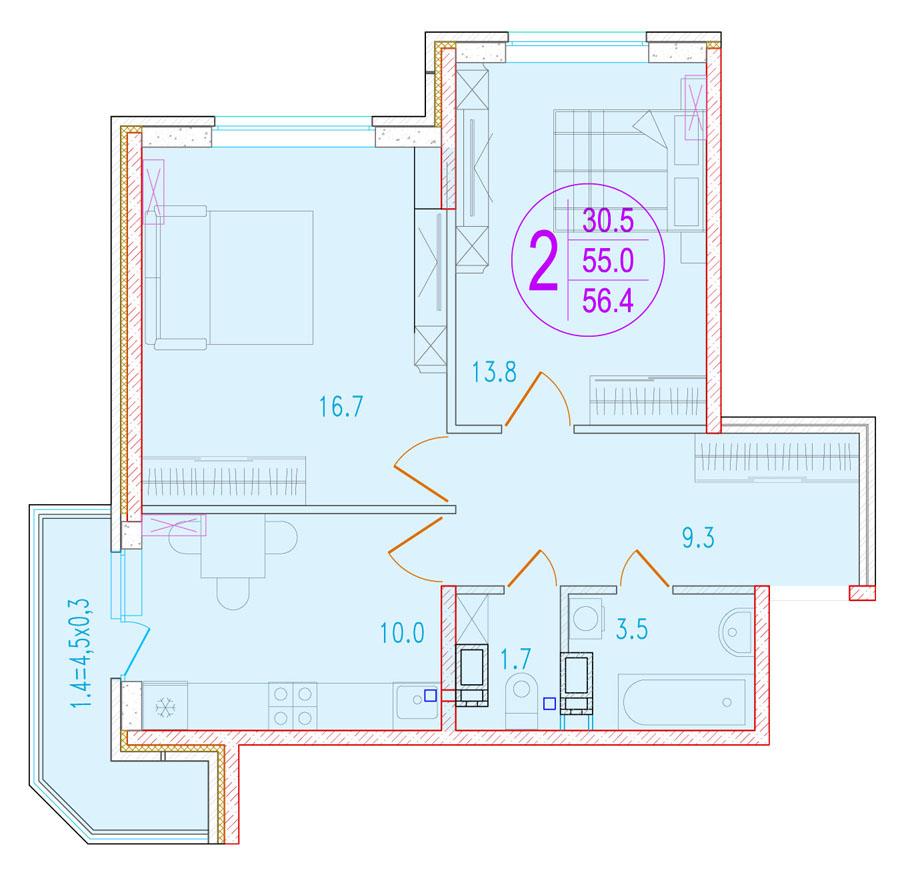 2-комнатная 56.4<span>м<sup>2</sup></span>