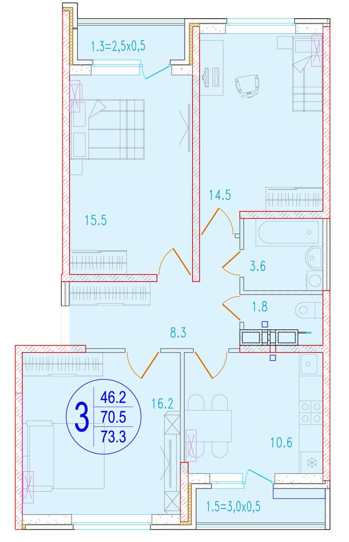 3-комнатная 73.3<span>м<sup>2</sup></span>