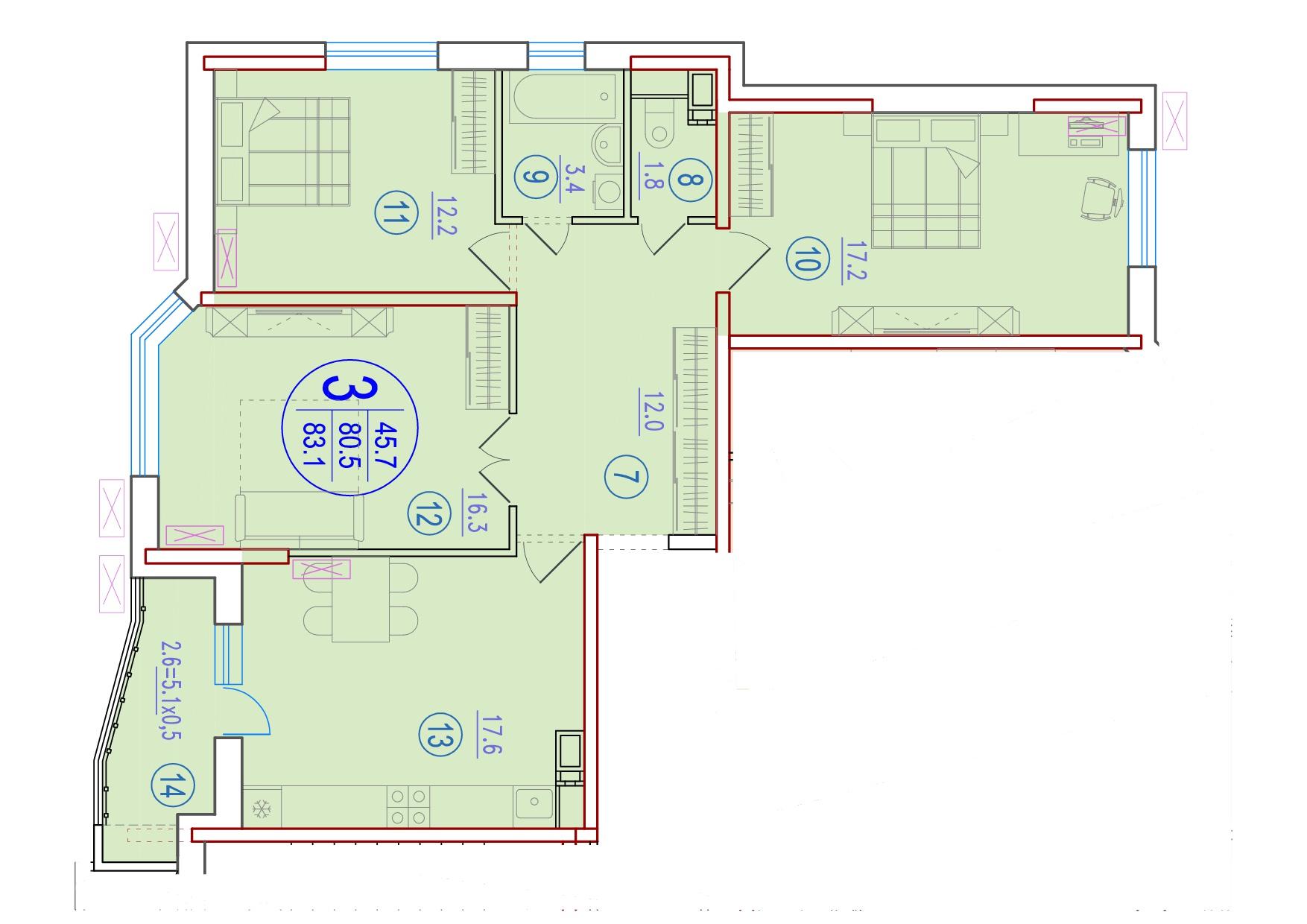 3-комнатная 83.1<span>м<sup>2</sup></span>